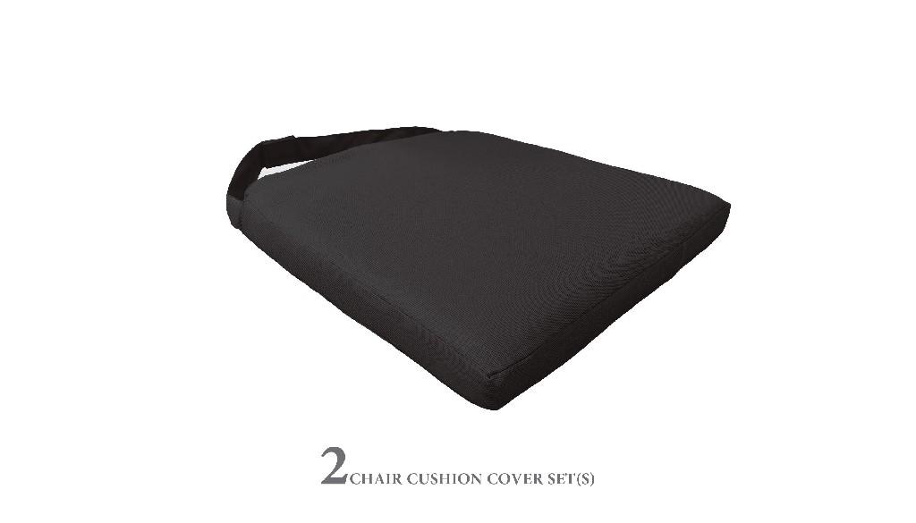2 Cushions for Dining Chairs in Black - TK Classics 090CUSHION-CHAIR-2PK-BLACK