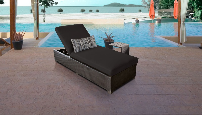 Tk Classics Chaise Outdoor Wicker Patio Side Table Black