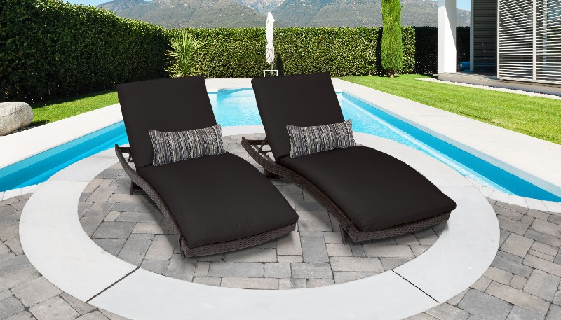 Tk Classics Curved Chaise Outdoor Wicker Patio Black