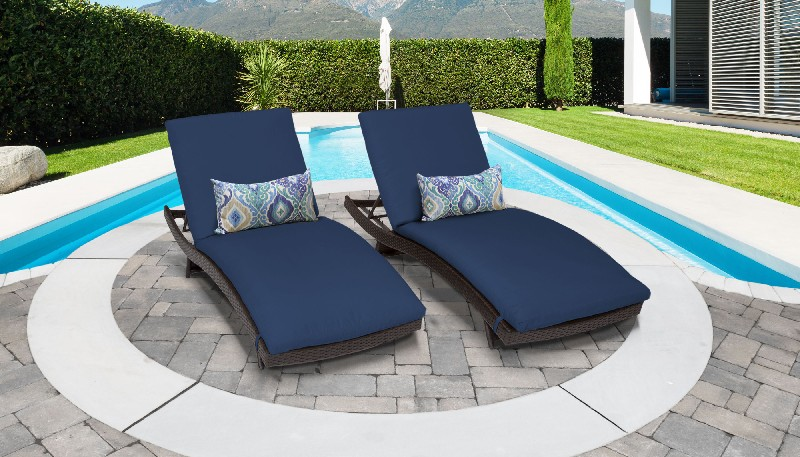 Tk Classics Curved Chaise Outdoor Wicker Patio Navy