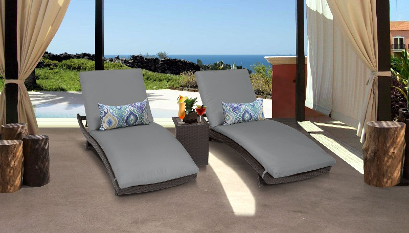 Tk Classics Curved Chaise Outdoor Wicker Patio Side Table Grey