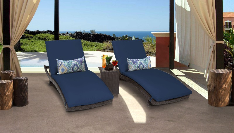 Tk Classics Curved Chaise Outdoor Wicker Patio Side Table Navy