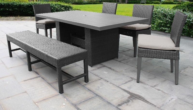 Tk Classics Rectangular Outdoor Patio Dining Table Chairs Bench Beige