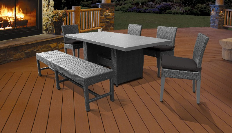 Tk Classics Rectangular Outdoor Patio Dining Table Chairs Bench Black