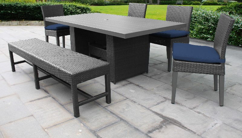 Barbados Rectangular Outdoor Patio Dining Table W/ 4 Chairs And 1 Bench In Navy - Tk Classics Barbados-dtrec-kit-4c1b-c-navy