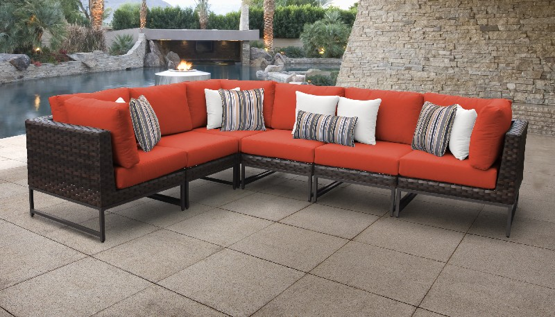 Tk Classics Outdoor Wicker Patio Set V Tangerine