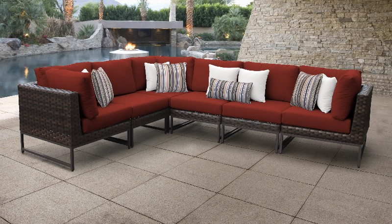 Tk Classics Outdoor Wicker Patio Set V Terracotta