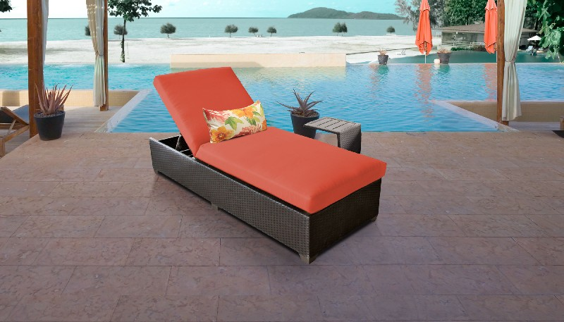 Tk Classics Chaise Outdoor Wicker Patio Side Table Tangerine