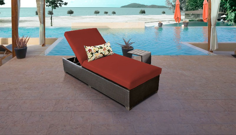 Tk Classics Chaise Outdoor Wicker Patio Side Table Terracotta