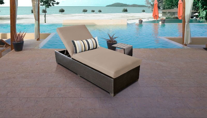 Tk Classics Chaise Outdoor Wicker Patio Side Table Wheat