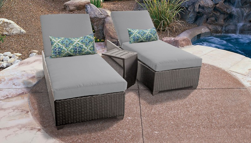 Tk Classics Chaise Outdoor Wicker Patio Side Table Grey
