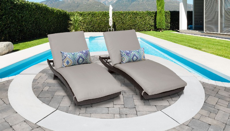 Tk Classics Curved Chaise Outdoor Wicker Patio Beige