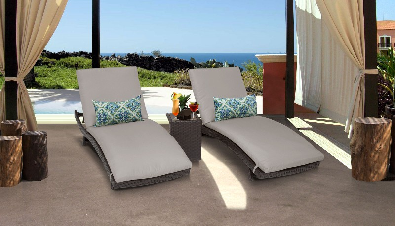 Tk Classics Curved Chaise Outdoor Wicker Patio Side Table Beige