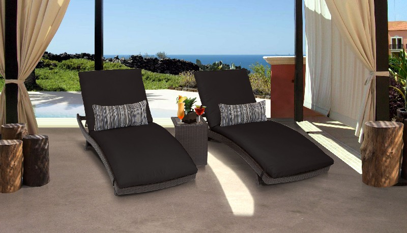 Tk Classics Curved Chaise Outdoor Wicker Patio Side Table Black