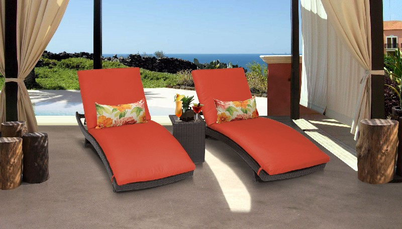 Tk Classics Curved Chaise Outdoor Wicker Patio Side Table Tangerine