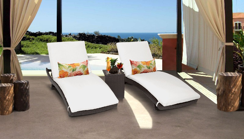 Tk Classics Curved Chaise Outdoor Wicker Patio Side Table Sail White