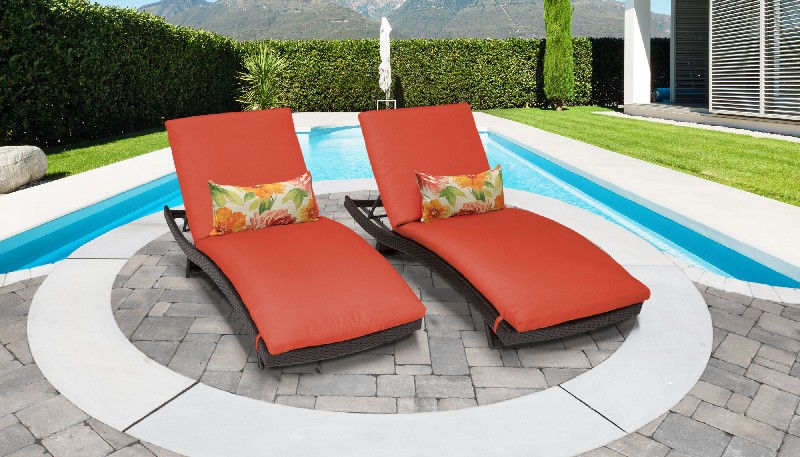 Tk Classics Curved Chaise Outdoor Wicker Patio Tangerine