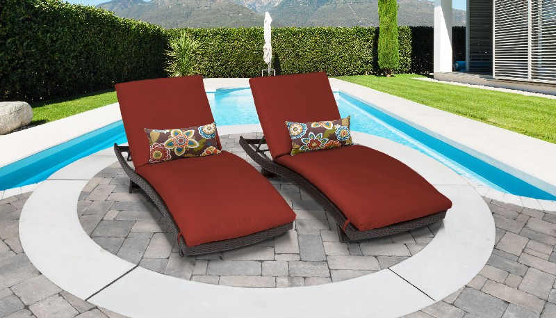 Tk Classics Curved Chaise Outdoor Wicker Patio Terracotta