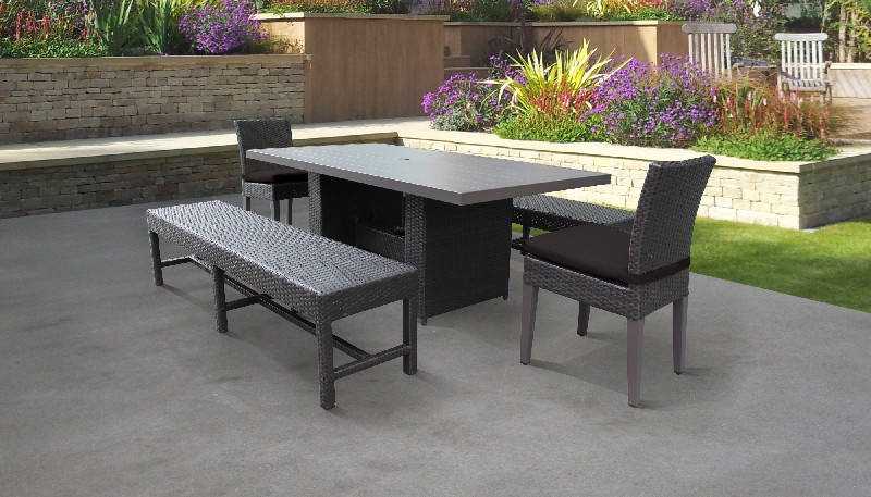 Belle Rectangular Outdoor Patio Dining Table W/ 2 Chairs And 2 Benches In Black - Tk Classics Belle-dtrec-kit-2c2b-c-black