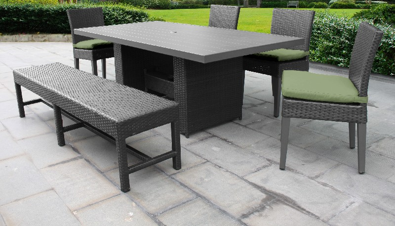 Tk Classics Rectangular Outdoor Patio Dining Table Chairs Bench Cilantro