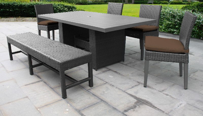 Tk Classics Rectangular Outdoor Patio Dining Table Chairs Bench Cocoa