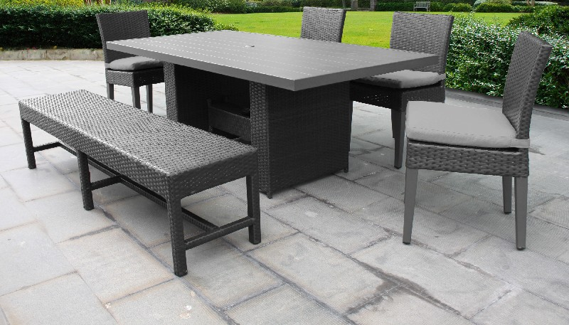 Tk Classics Rectangular Outdoor Patio Dining Table Chairs Bench Grey