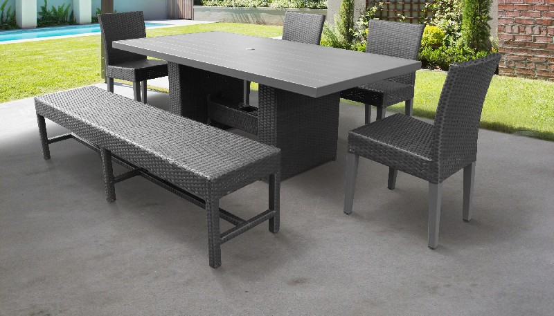 Rectangular Outdoor Patio Dining Table Chairs Bench