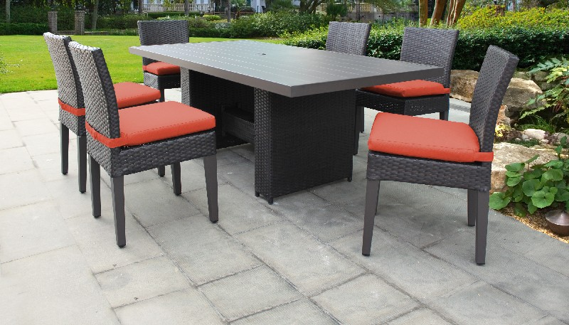 Tk Classics Rectangular Outdoor Patio Dining Table Armless Chairs Tangerine