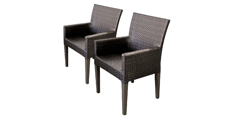 2 Belle Dining Chairs w/ Arms in Espresso - TK Classics Belle-Tkc097B-Dc