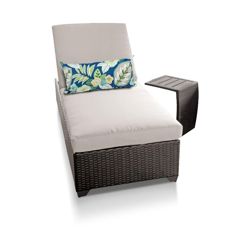 Tk Classics Chaise Outdoor Wicker Patio Side Table Beige