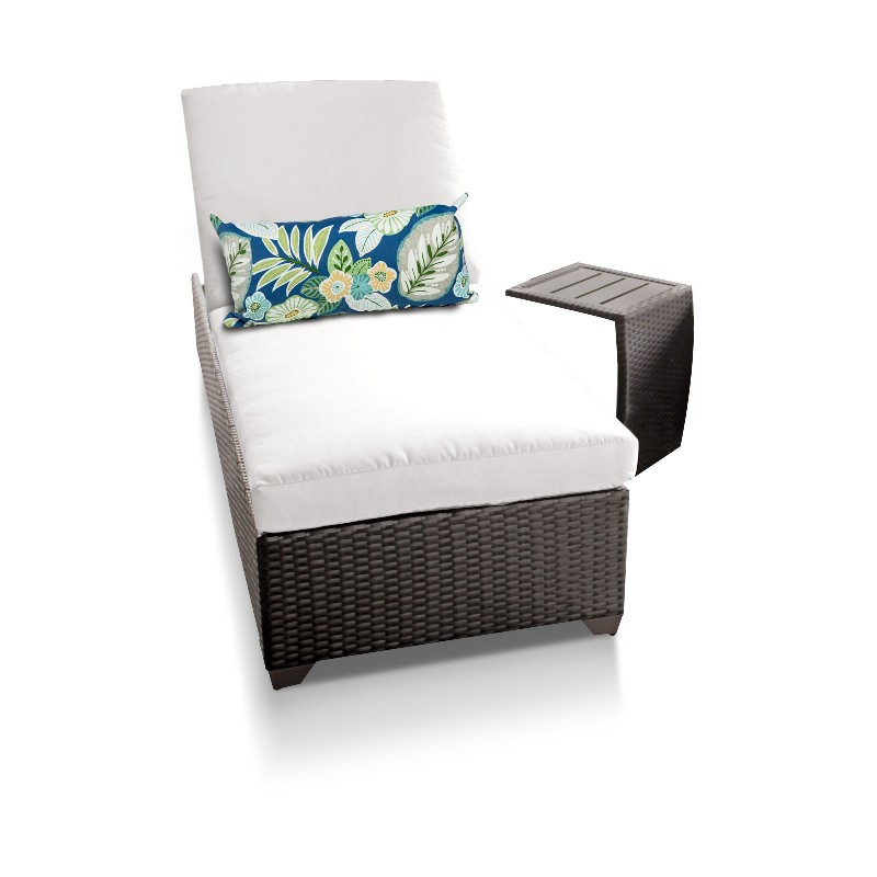 Chaise Outdoor Wicker Patio Side Table Sail White