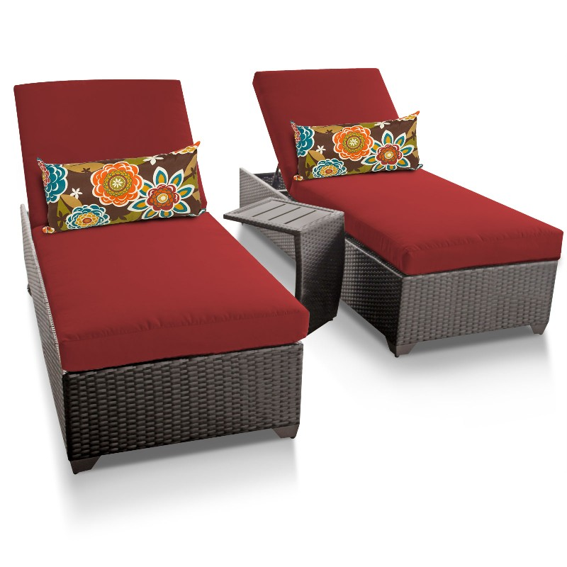 Tk Classics Classic Chaise Outdoor Wicker Patio Side Table Terracotta