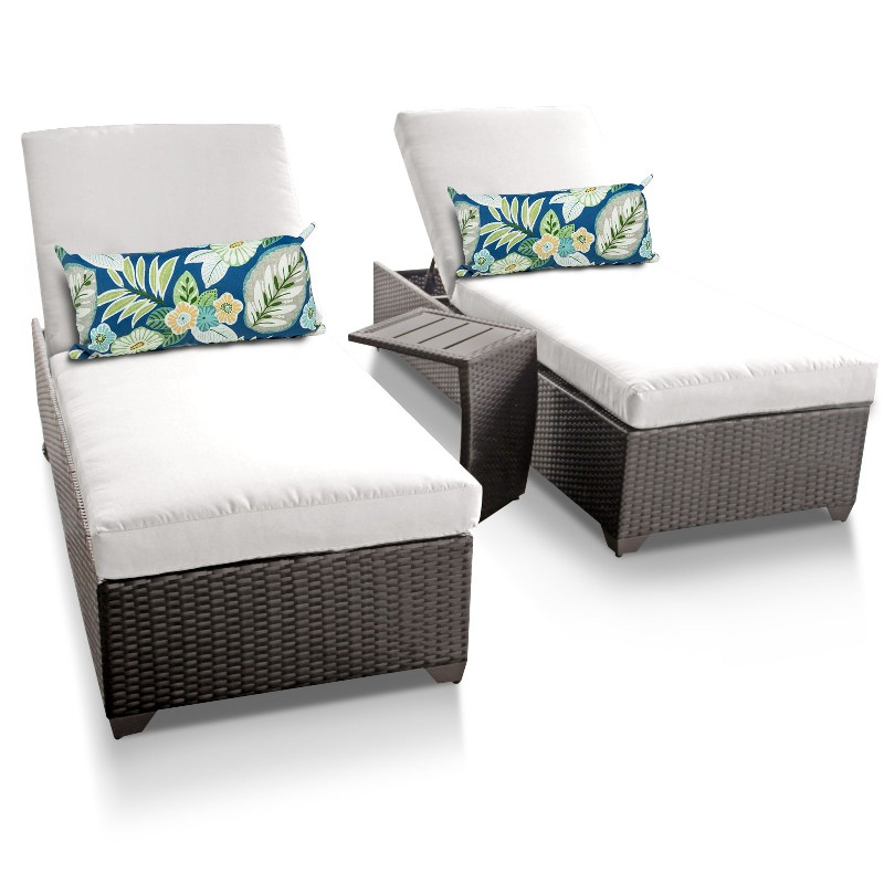 Tk Classics Classic Chaise Outdoor Wicker Patio Side Table Sail White