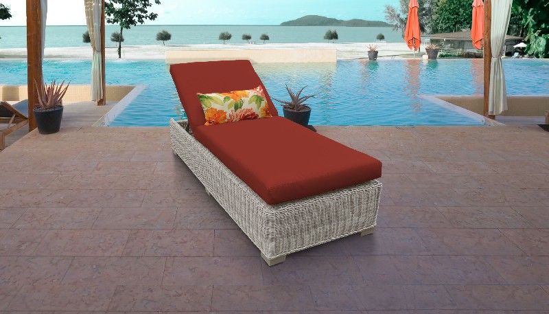 Tk Classics Chaise Outdoor Wicker Patio Terracotta