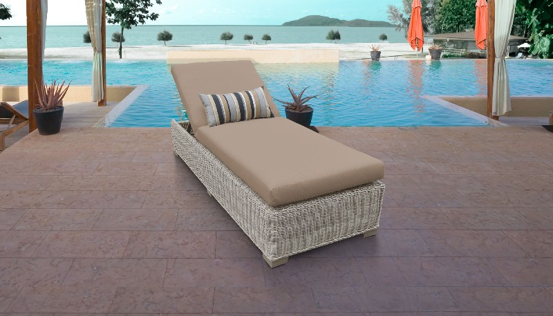 Tk Classics Chaise Outdoor Wicker Patio Wheat