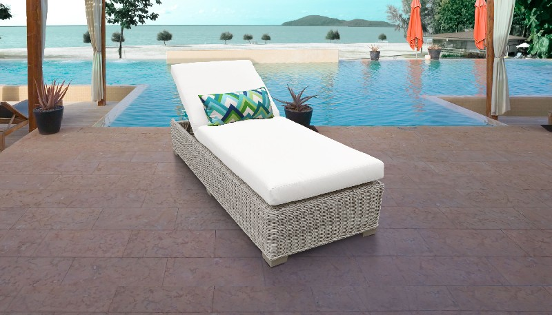 Tk Classics Chaise Outdoor Wicker Patio White