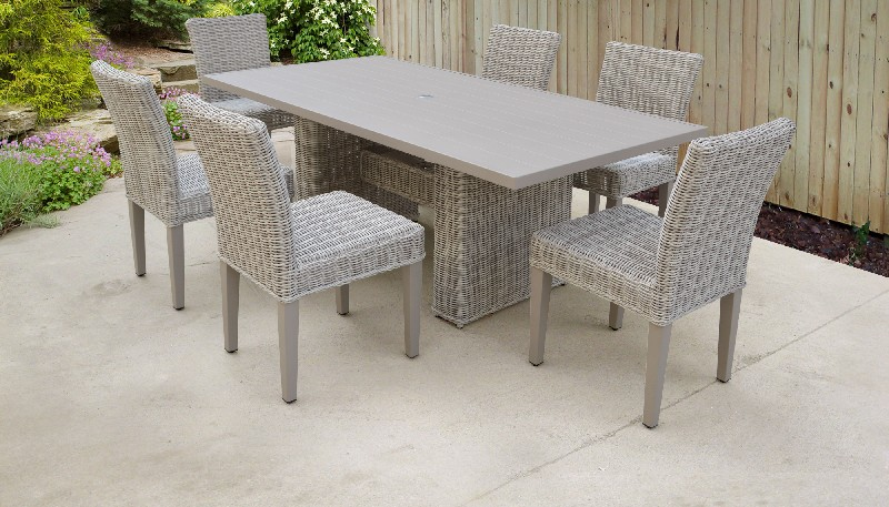 Tk Classics Dining Table Rectangular Patio Armless Chairs