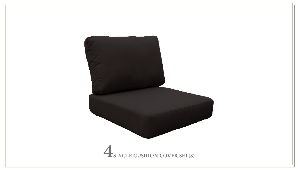 High Back Cushion Set For Coast-07d In Black - Tk Classics Cushions-coast-07d-black