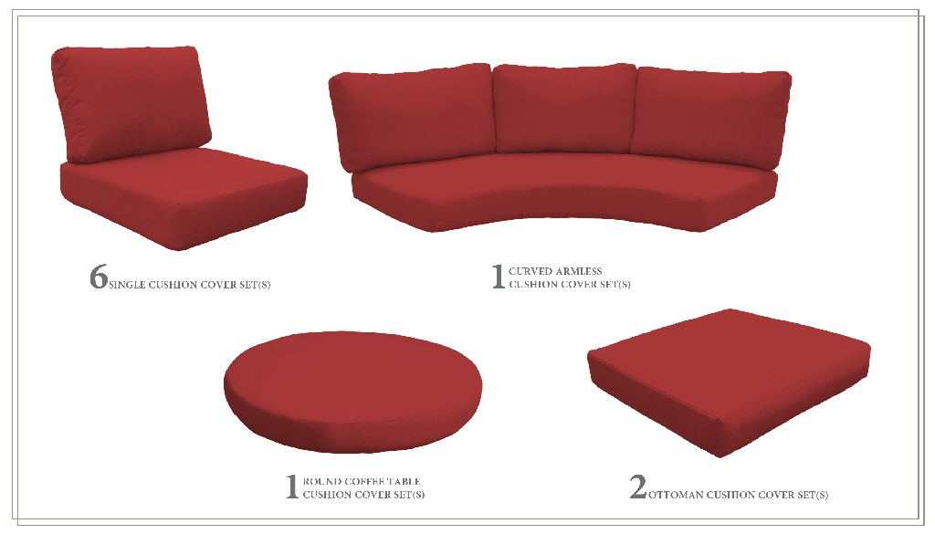 High Back Cushion Set For Fairmont-11c In Terracotta - Tk Classics Cushions-fairmont-11c-terracotta
