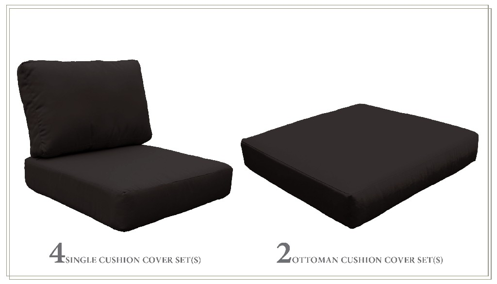 High Back Cushion Set For Miami-07b In Black - Tk Classics Cushions-miami-07b-black