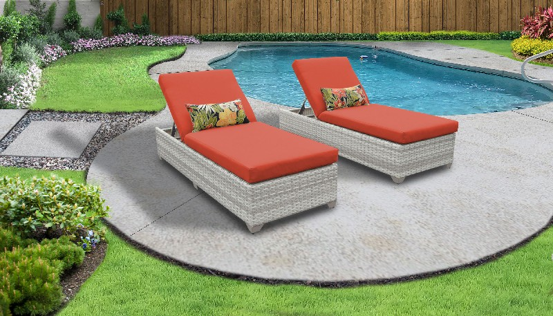 Tk Classics Chaise Outdoor Wicker Patio Tangerine