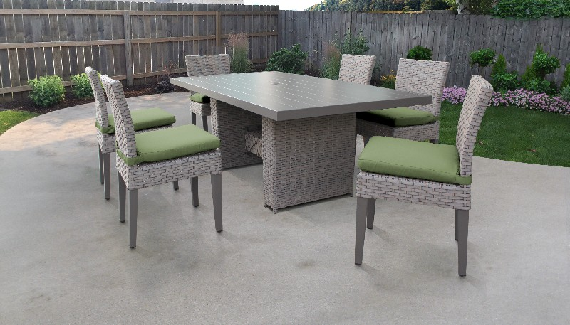 Tk Classics Rectangular Outdoor Patio Dining Table Armless Chairs Cilantro