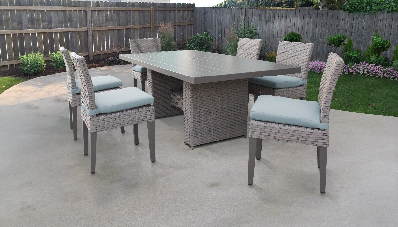 Tk Classics Rectangular Outdoor Patio Dining Table Armless Chairs Spa