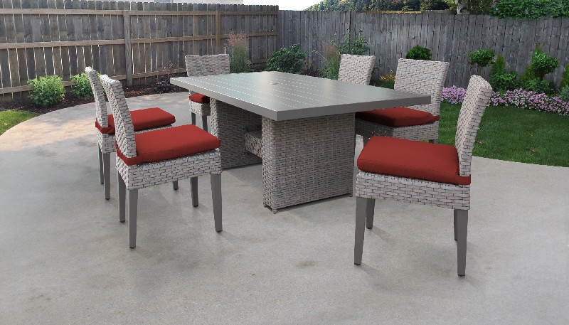 Tk Classics Rectangular Outdoor Patio Dining Table Armless Chairs Terracotta