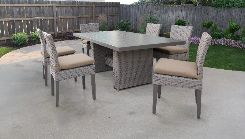 Tk Classics Rectangular Outdoor Patio Dining Table Armless Chairs Wheat