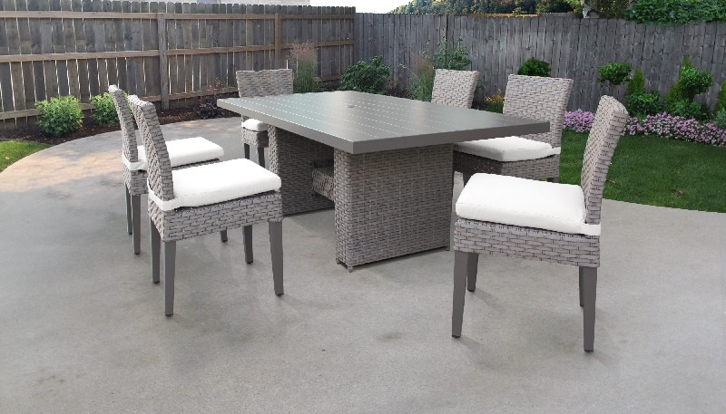 Tk Classics Rectangular Outdoor Patio Dining Table Armless Chairs Sail White