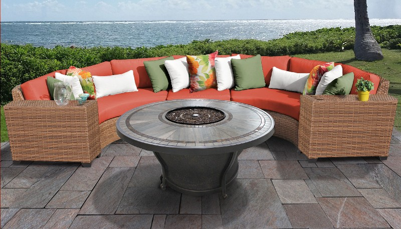 Tk Classics Outdoor Wicker Patio Set Tangerine