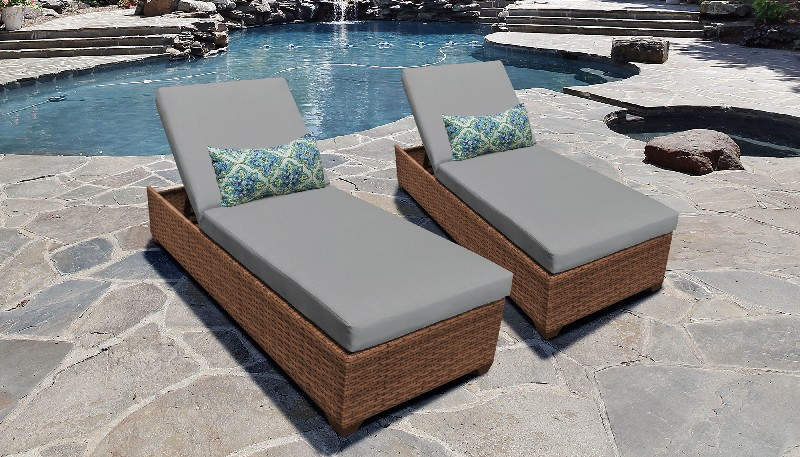Tk Classics Chaise Outdoor Wicker Patio Grey