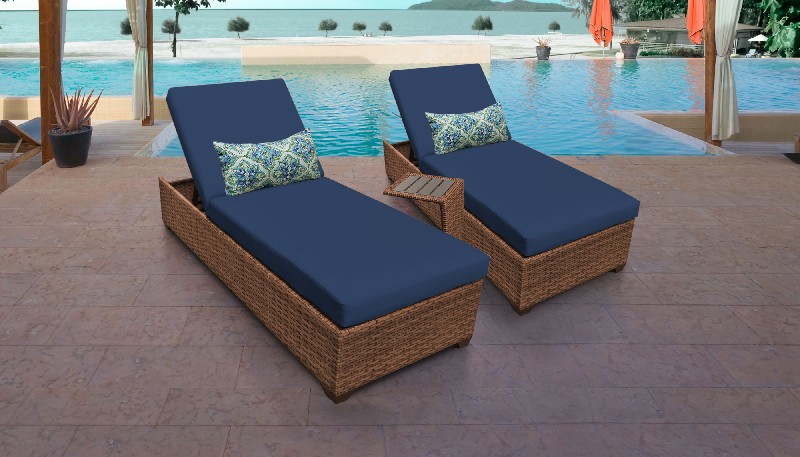 Tk Classics Chaise Outdoor Wicker Patio Side Table Navy
