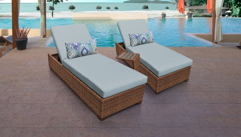Tk Classics Chaise Outdoor Wicker Patio Side Table Spa